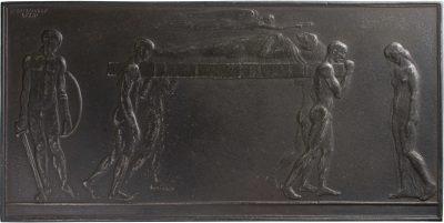 Bruno Eyermann, Grabtragung im griechischen Stil, Eisen, 1917; Universitätsbibliothek Leipzig