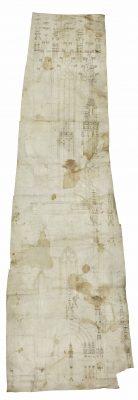 Bauriss des Freiburger Münsterturms, um 1430, 105,5 ×35 cm; Städtische Museen Freiburg; © Städtische Museen Freiburg / Foto: Alex Killian