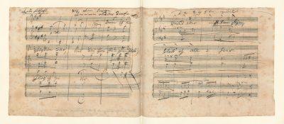 """Ludwig van Beethoven, Autograph des Liedes """"Ruf aus der Tiefe"""" nach einem Gedicht von Georg Friedrich Treitschke, 1816, 16 × 19,7 cm; Beethoven-Haus Bonn; © Beethoven-Haus Bonn"""