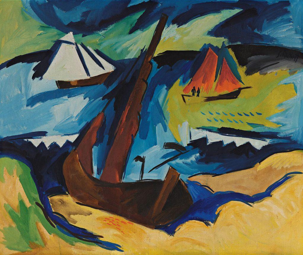 Karl Schmidt-Rottluff, Ostsee (Schiffe am Strand), 1922, 103 × 125 cm; Leopold-Hoesch-Museum & Papiermuseum; © VG Bild-Kunst / Foto: Peter Hinschläger