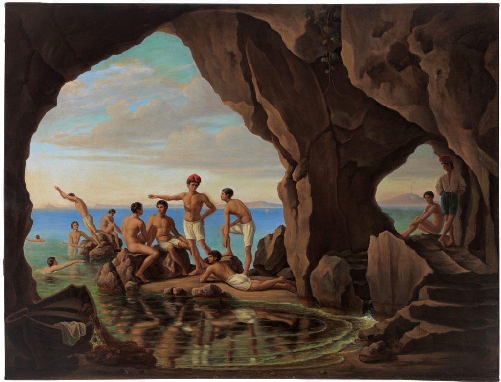 Ferdinand Flor, Badende Fischerknaben in der Blauen Grotte auf Capri, 1837, 74,5 x 97,5 cm; Schwules Museum, Berlin