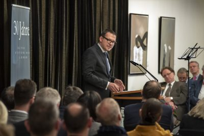 Prof. Dr. Markus Hilgert, Generalsekretär der Kulturstiftung der Länder, bei seiner Rede auf dem Festakt anlässlich des 30-jährigen Bestehens der Kulturstiftung der Länder; © Foto: David Ausserhofer