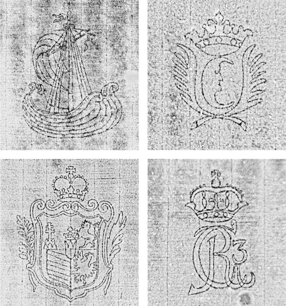 Verschiedene Wasserzeichen aus Musikhandschriften des 18. und frühen 19. Jahrhunderts; Staatsbibliothek zu Berlin; © Thermographie: H. Immel