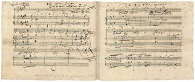 """Ludwig van Beethoven, Autograph des Liedes """"Ruf vom Berge"""" nach einem Gedicht von Georg Friedrich Treitschke, 1816, 16×19,7 cm; Beethoven-Haus Bonn; © Beethoven-Haus Bonn"""