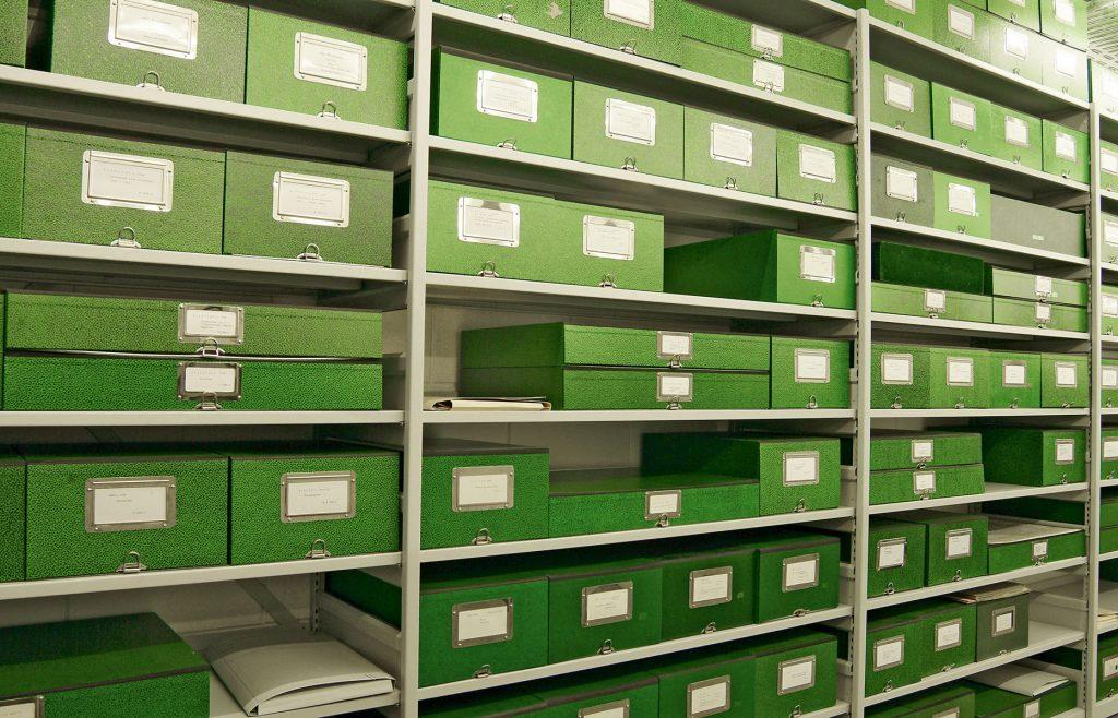 Grüne Archivkästen im Deutschen Literaturarchiv Marbach, © Deutschen Literaturarchiv Marbach