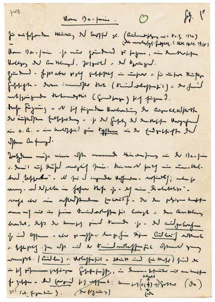 """Martin Heidegger, Manuskript zu """"Beiträge zur Philosophie"""", verfasst 1936/37, erschienen 1989, 14,9×21,1 cm; Literaturarchiv Marbach; © Mit freundlicher Genehmigung des Nachlassverwalters und des Vittorio Klostermann Verlags / Foto: Deutsches Literaturarchiv Marbach"""