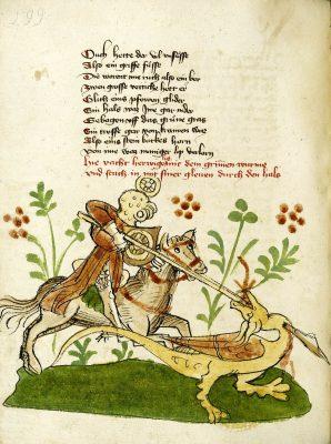 Donaueschinger Handschrift, Wigalois-Sage: Der Drachenkampf, 1420, Badische Landesbibliothek, © Badische Landesbibliothek