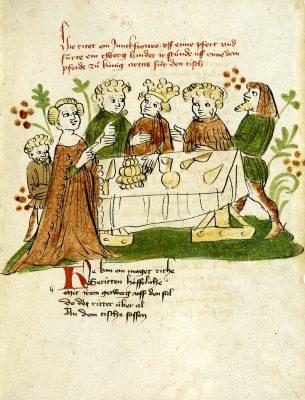 Donaueschinger Handschrift, Wigalois-Sage: Nerejas Ankunft am Artushof und ihre Bitte an Artus, 1420, Badische Landesbibliothek, © Badische Landesbibliothek