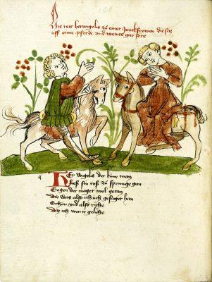 Donaueschinger Handschrift, Wigalois-Sage: Die Begegnung mit Elamie, 1420, Badische Landesbibliothek, © Badische Landesbibliothek