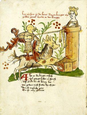 Donaueschinger Handschrift, Wigalois-Sage: Joram reicht Ginover den Zaubergürtel, 1420, Badische Landesbibliothek, © Badische Landesbibliothek