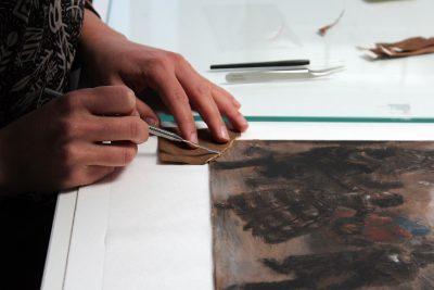 Adolph Menzel, Die Schlittschuhläufer, 1855/1856, Restaurierungsprozess; © Staatliche Museen zu Berlin, Kupferstichkabinett / Foto: Christof Hannemann