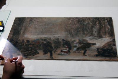 Adolph Menzel, Die Schlittschuhläufer, 1855/1856,  Restaurierungsprozess;© Staatliche Museen zu Berlin, Kupferstichkabinett / Foto: Christof Hannemann