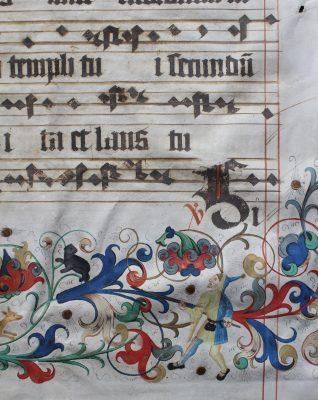 Illuminiertes Blatt aus einem Naumburger Chorbuch (Detail; Handschrift I), 1500/1504, 75,5 × 55,5 cm; Domstiftsbibliothek Naumburg; © Vereinigte Domstifter / Foto: M. Ludwig