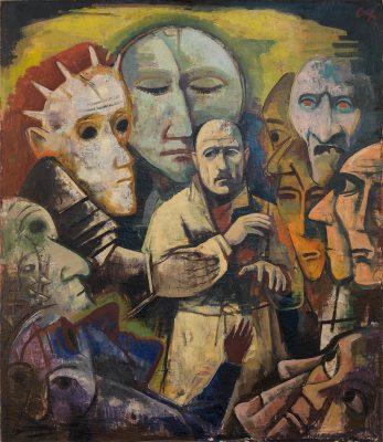 Karl Hofer, Selbstbildnis mit Dämonen, 1922/23, 147 × 124 cm; Staatliche Kunsthalle, Karlsruhe; ©VG Bild-Kunst, Bonn 2019