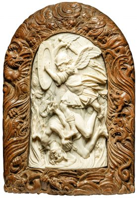 Christoph Daniel Schenck, Kampf des Erzengels Michael mit dem Teufel, 1683, 14 × 9 cm; Liebieghaus Skulpturensammlung, Frankfurt am Main; © Liebieghaus Skulpturensammlung
