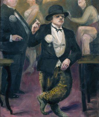Karl Schwesig, Selbstbildnis im Karneval, 1930, 134 × 114 cm; Kunstpalast, Düsseldorf; © Nachlass Karl Schwesig/Galerie Remmert und Barth, Foto: Stefan Arendt/LVR-ZMB