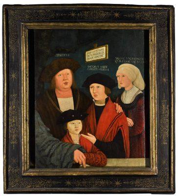 Bernhard Strigel, Johannes Cuspinian und seine Familie, 1520, Öl auf Lindenholz, 70,7 × 60,0 cm; Strigel-Museum Memmingen; © Strigel-Museum Memmingen