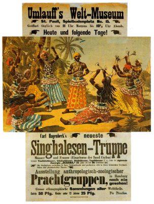 """Plakat von Adolph Friedländer für eine Völkerschau des Impresarios und späteren Zoodirektors Carl Hagenbeck in """"Umlauff's Welt-Museum"""" in Hamburg, nach 1889. © Museum Fünf Kontinente München"""