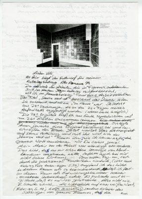 Schriftverkehr zwischen dem Maler Herbert Bardenheuer und dem damaligen Direktor des Sprengel-Museum Hannover, Ulrich Krempel, aus dem Rheinischen Archiv für Künstlernachlässe, 1994. © RAK