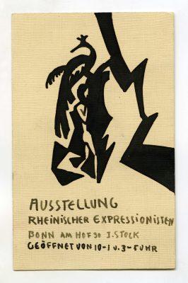 August Macke, Entwurf der Einladungskarte für die Ausstellung Rheinischer Expressionisten in Bonn, 1913, schwarze Tusche, 13,2 x 8,3 cm, Nachlass Kurt Friedrich Ertel, RAK © RAK