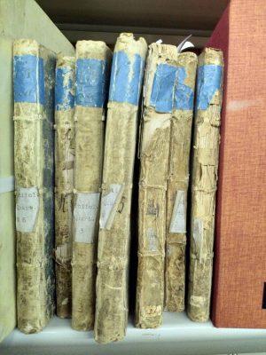 Beschädigte Bände der historischen Bibliothek des Gymnasiums Arnoldinum in Steinfurt. © Gymnasium Arnoldinum, Steinfurt