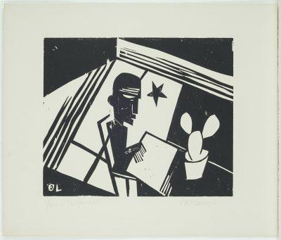 """Otto Lange, Selbst bei Nacht im Atelier, Aus der Grafikmappe """"Dresdner Sezession – Gruppe 1919"""" , 1920, Linolschnitt 33,4 × 40,3 cm auf 58,5 × 48,9 cm; Städtische Galerie Dresden; © Städtische Galerie Dresden, Foto: Franz Zadnicek"""