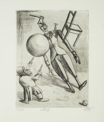 """Otto Dix, Sketch, aus der Mappe """"Zirkus"""", 1922, Radierung, 39,4 × 29,7 auf 49,8 × 43 cm; Städtische Galerie Dresden; Foto: Franz Zadnicek, © VG Bild Kunst, Bonn 2019"""