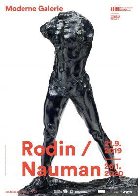 Ausstellungsplakat mit einer Statue von Auguste Rodin, Vorstellung der Ausstellung Rodin / Nauman in der Modernen Galerie Saarbrücken