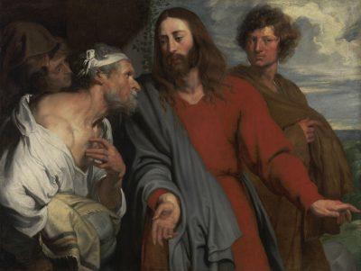 """Das Gemälde zeigt fünf Männer, einer von ihnen symbolisiert Jesus der auf einen Lahmen trifft, das Gemälde stammt von Anthonis van Dyck, wurde um 1618 bis 1629 angefertigt und ist der Teil der Ausstellung """"VAN DYCK"""" in der Alten Pinakothek, gefördert von der Kulturstiftung der Länder"""