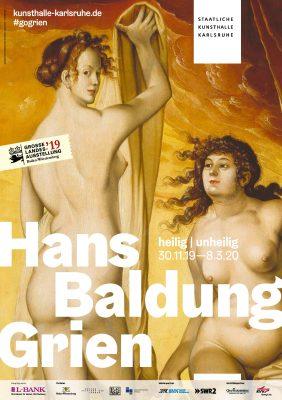 Plakat Ausstellung heilig-unheilig Hans Baldung Grien in der Kunsthalle Karlsruhe gefördert von der Kulturstiftung der Länder