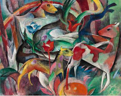 Heinrich Campendonk, Tiere/Bild mit Tieren, 1917, Öl auf Leinwand