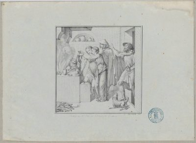 Johann Friedrich Overbeck, Rückkehr von der Reise und Bekränzung der Penaten, Rom 1810, 17 × 16,6 cm; © Graphische Sammlung Museumslandschaft Hessen-Kassel