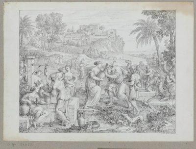 Joseph Anton Koch, Rebekka und Elieser am Brunnen, aus dem Künstlerstammbuch Blankenhagen, erworben mit Unterstützung der Kulturstiftung der Länder