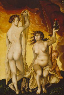 """Gemälde """"Zwei Hexen"""" von Hans Baldung Grien, Bestandteil der Ausstellung """"heilig unheilig"""" in der Staatlichen Kunsthalle Karlsruhe, eine Ausstellungsförderung der Kulturstiftung der Länder"""