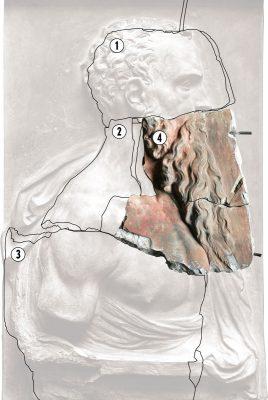 1–3: Fragmente des Reliefs, die sich heute im Puschkin-Museum in Moskau befinden; 4: das Fragment aus dem Berliner Bode-Museum; © Staatliche Museen zu Berlin Preußischer Kulturbesitz Skulpturensammlung und Museum für Byzantinische Kunst, Foto: Archiv SBM; Collage: Vladimir Llovet