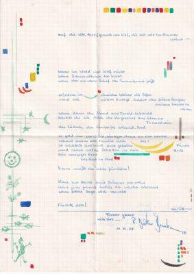 Rolf Dieter Brinkmann, Brief, 1958; © Arbeitsstelle Rolf Dieter Brinkmann, Vechta
