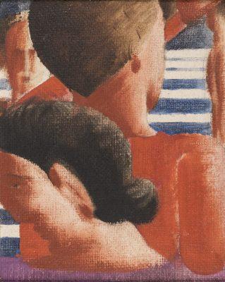 Das kleinformatige Ölgemälde zeigt vier Personen auf einer Treppe, dargestellt in besonderer Nahsichtigkeit und Ausschnitthaftigkeit.