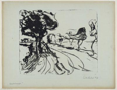 Erich Heckel, Landstraße, 1907, Lithographie, Landesmuseum Oldenburg, Foto: Sven Adelaide, © VG Bild-Kunst, Bonn 2020