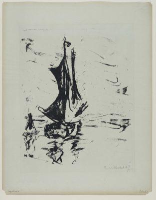 Erich Heckel, Segelboot, 1907, Tuschelithographie, Landesmuseum Oldenburg, Foto: Sven Adelaide © VG Bild-Kunst, Bonn 2020