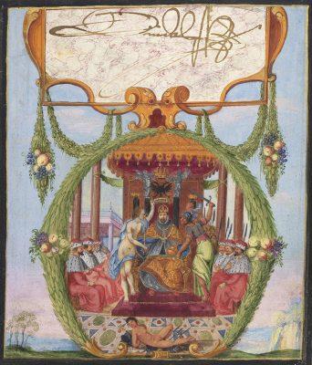 Daniel Fröschl, Krönung Kaiser Rudolfs II., Im Kreis von sechs Kurfürsten, mit eigenhändiger Unterschrift, vor 1612; © HAB Wolfenbüttel