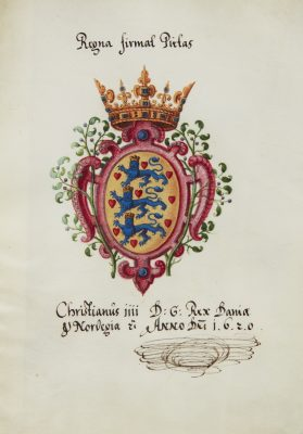 Unbekannter Künstler, Wappen von Christian IV., König von Dänemark und Norwegen, mit eigenhändiger Unterschrift, 1620; © HAB Wolfenbüttel