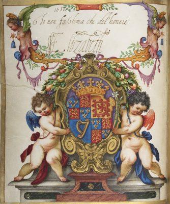 Johann Matthias Kager, Wappen von Elisabeth Stuart, Kurfürstin von der Pfalz, mit eigenhändiger Unterschrift, 1618; © HAB Wolfenbüttel