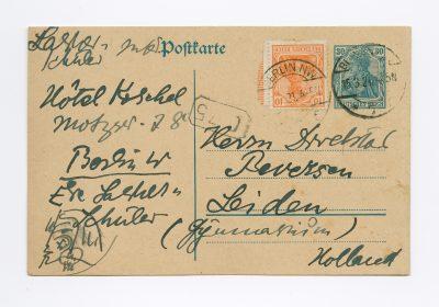 Else Lasker-Schüler aus Berlin an N. J. Beversen in Leiden, Postkarte mit Selbstporträt, 15. März 1921. © DLA Marbach