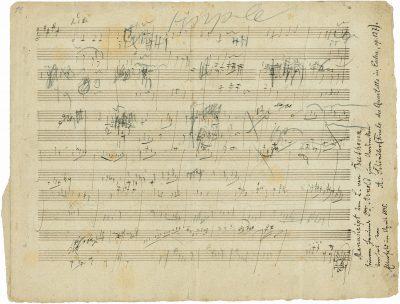 Ludwig van Beethoven, Skizzenblatt zum 4. Satz von Beethovens Streichquartett op. 127, 1824/25, Seite 1, Beethoven-Haus Bonn; © Auktionshaus Stargardt