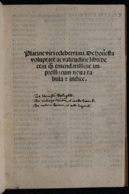 Platina, Bartolomeo: De honesta voluptate et valetudine, Venedig 1517, Ausgabe des ersten gedruckten Kochbuches. © SLUB Dresden, Ramona Ahlers-Bergner
