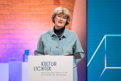 Staatsministerin Prof. Monika Grütters, Preisverleihung KULTURLICHTER 2020 – Deutscher Preis für Kulturelle Bildung; Foto: ©Holger Kursikowski