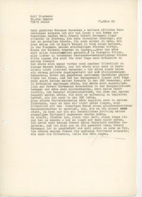 1982 bittet Wolf Biermann Erich Honecker um Einreiseerlaubnis in die DDR, um seinen sterbenden Freund Robert Havemann zu besuchen. Honecker genehmigt die Reise. Als zwei Tage nach Biermanns Besuch Robert Havemann stirbt, erscheint im Westfernsehn eine Filmaufnahme von Havemann und Biermann, die Havemanns Frau Katja aufgezeichnet hatte. Havemann hatte sie heimlich in den Westen schmuggeln lassen; © Archiv Wolf Biermann, Staatsbibliothek zu Berlin